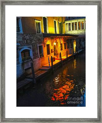 Venice Italy - Canal At Night Framed Print by Gregory Dyer