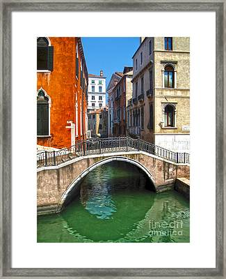 Venice Italy - Canal Bridge Framed Print by Gregory Dyer