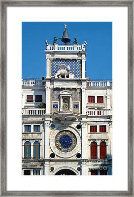 Venice Italy - Clock Tower Framed Print by Gregory Dyer