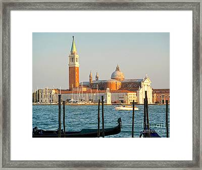 Venice Italy - San Giorgio Maggiore Island And Gondolas Framed Print by Gregory Dyer