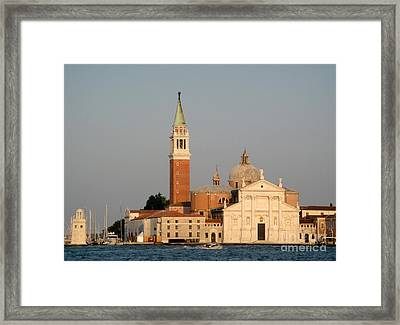 Venice Italy - San Giorgio Maggiore Island At Sunset Framed Print by Gregory Dyer