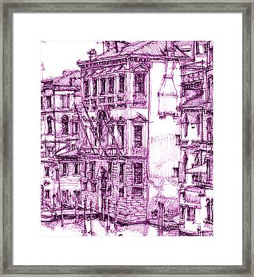 Venice Palace In Purple Framed Print by Building  Art
