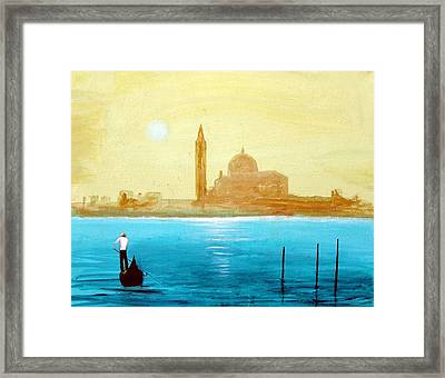 Framed Print featuring the painting Venice Sunset by Larry Cirigliano
