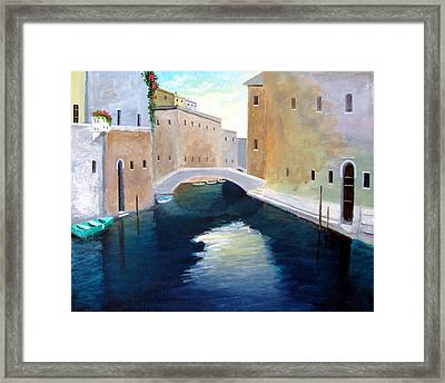 Framed Print featuring the painting Venice Water Dance  by Larry Cirigliano