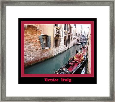 Venitian Gondola   Venice Canal Italy Framed Print