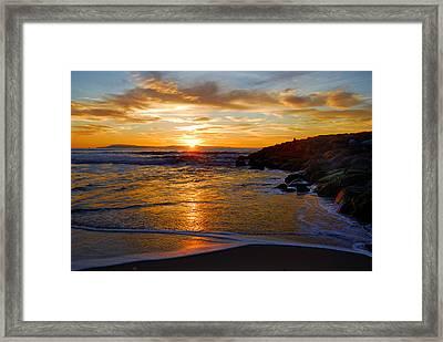 Framed Print featuring the photograph Ventura Beach Sunset by Lynn Bauer