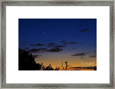 Venus And The Moon At Sunset Framed Print