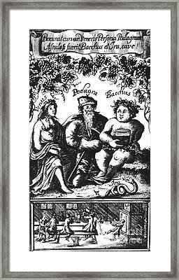 Venus, Podagra And Bacchus, 1687 Framed Print by Science Source