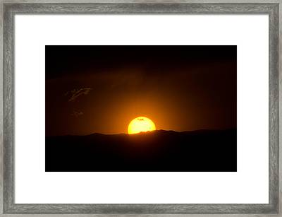 Venus Transit Setting Over The Rocky Mountains Framed Print