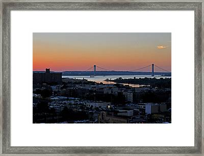 Framed Print featuring the photograph Verazano Sunset by Diane Lent