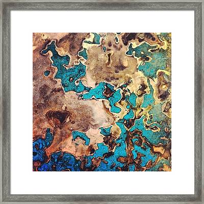 Verdigris Texture Framed Print by Nic Squirrell