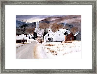 Vermont Winter Village Framed Print by Karol Wyckoff