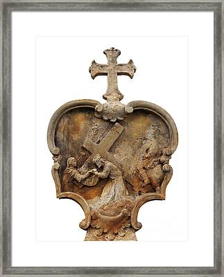 Veronica Wipes The Face Of Jesus Framed Print by Michal Boubin