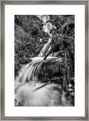Vertical Falls Bw Framed Print by Mitch Johanson