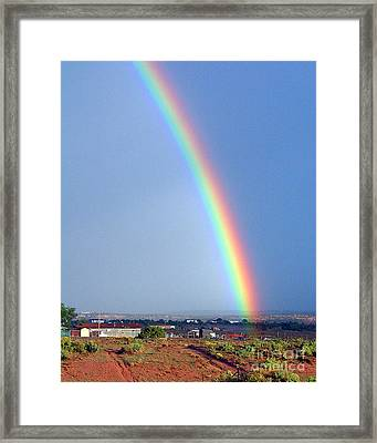 Very Bright Arizona Rainbow Framed Print by Merton Allen