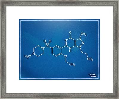 Viagra Molecular Structure Blueprint Framed Print by Nikki Marie Smith