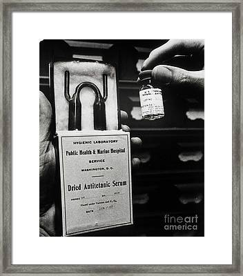 Vials Of Tetanus Antitoxin Framed Print by Science Source