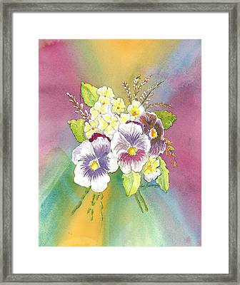 Framed Print featuring the painting Vibrant Panseys by Joy Braverman