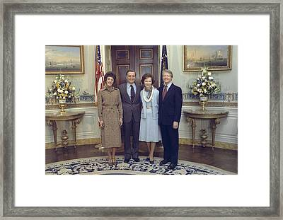 Vice President And Joan Mondale Pose Framed Print by Everett