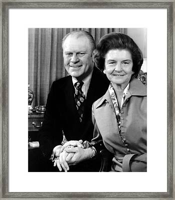 Vice President Gerald Ford And Wife Framed Print