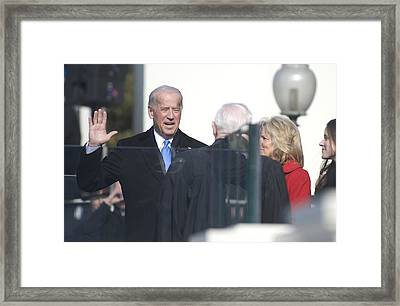 Vice President Joe Biden Takes The Oath Framed Print