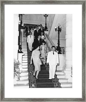 Vice President Johnson In South Framed Print by Everett