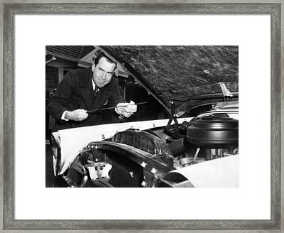 Vice President Nixon As A Gas Station Framed Print by Everett