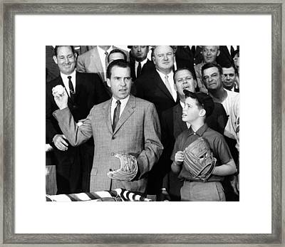 Vice President Nixon Officially Opens Framed Print by Everett