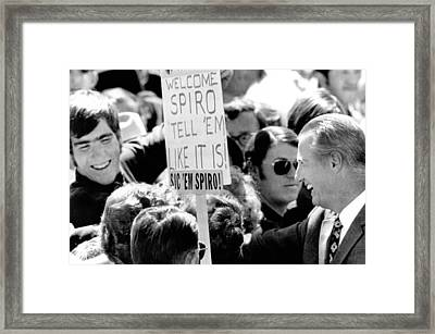 Vice President Spiro Agnew Was Greeted Framed Print