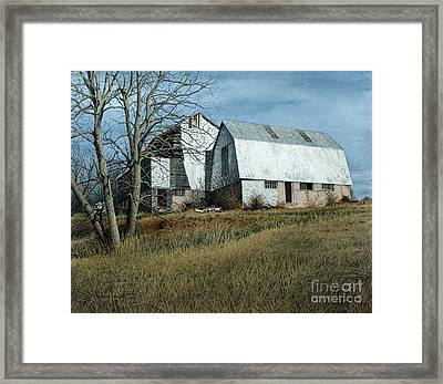 Victoria County Road Barn Framed Print