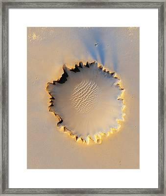 Victoria Crater, Mars, Mro Image Framed Print by Nasajplu. Arizona