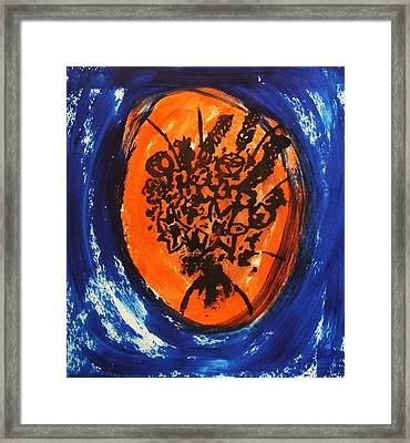 Framed Print featuring the painting Victorian Contemporary Flowers In Blue And Orange Vortex Swirls Acrylic Monoprint Serigraph by M Zimmerman
