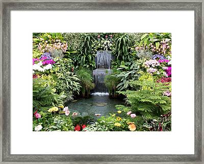 Victorian Garden Waterfall - Digital Art Framed Print by Carol Groenen