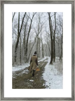 Victorian Gentleman Walking Through Woods Framed Print by Jill Battaglia