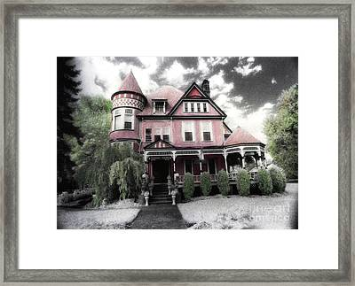 Victorian Mansion Heather House-hand Colored Infrared Photo Framed Print by Kathy Fornal