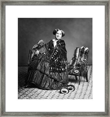 Victorian Woman With Furs C. 1853 Framed Print by Daniel Hagerman