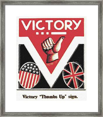 Victory Sign Framed Print by Steve Ohlsen