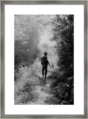Vietnam War. A Us Marine Walking Point Framed Print by Everett