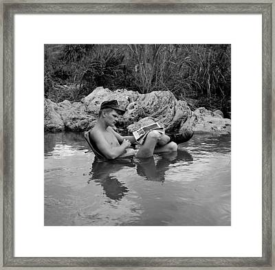 Vietnam War. Us Marine Rifleman Takes Framed Print by Everett