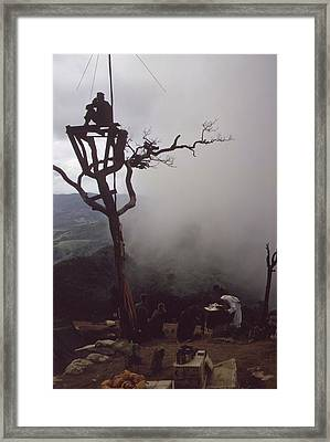 Vietnam War. Us Marine Stands Watch Framed Print by Everett