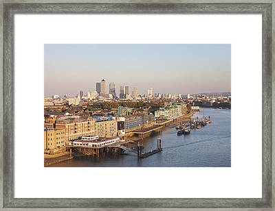 View Along River Thames To Canary Wharf Framed Print by Laurie Noble