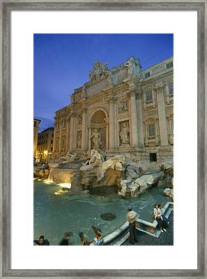 View At Dusk Of The Trevi Fountain Framed Print by Richard Nowitz