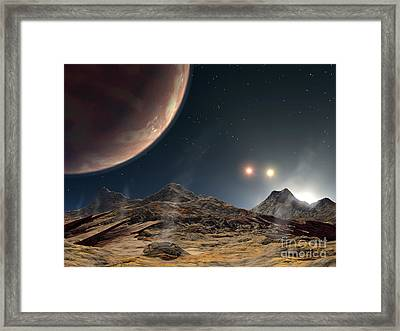 View From A Hypothetical Moon In Orbit Framed Print by Stocktrek Images