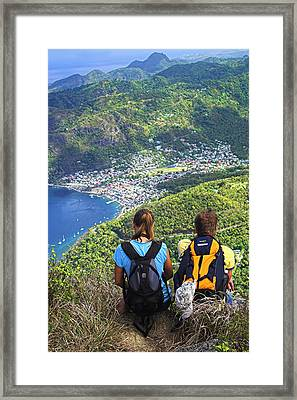 Framed Print featuring the photograph View From Petit Piton- St Lucia  by Chester Williams