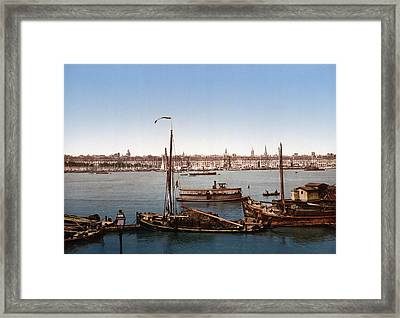 View From The Bastille - Bordeaux - France Ca 1900 Framed Print by International  Images