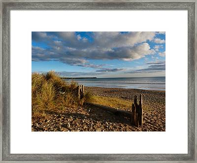 View From The Dunes At Tramore. Framed Print by Debra Collins