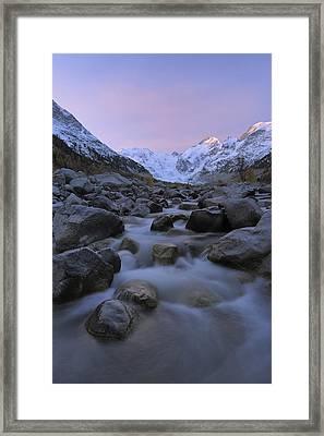 View From Val Morteratsch To Morteratsch Glacier, Piz Morteratsch, Piz Bernina, Engadin, St Moritz, Graubunden, Switzerland Framed Print by Martin Ruegner
