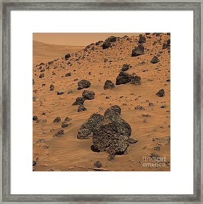 View Of A Dark Boulder On The Rocky Framed Print