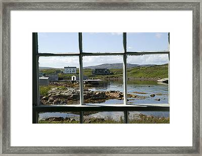 View Of A Harbor Through Window Panes Framed Print