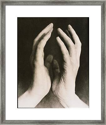 View Of A Woman's Hands Held Together Framed Print by Cristina Pedrazzini